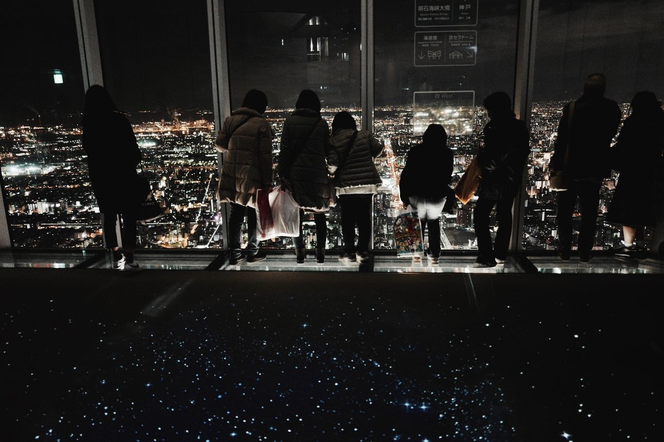 Illuminated OSAKA West side View from ABENO HARUKAS 60F Observatory 300 meters Large Group Of People Adults Only Indoors  Landscape_photography Night Lights Lowlightphotography Q typ116 28mm F/1.7 Sihouettes Tonight Is ABENO HARUKAS Osaka,Japan Japan Scenery de Good evening
