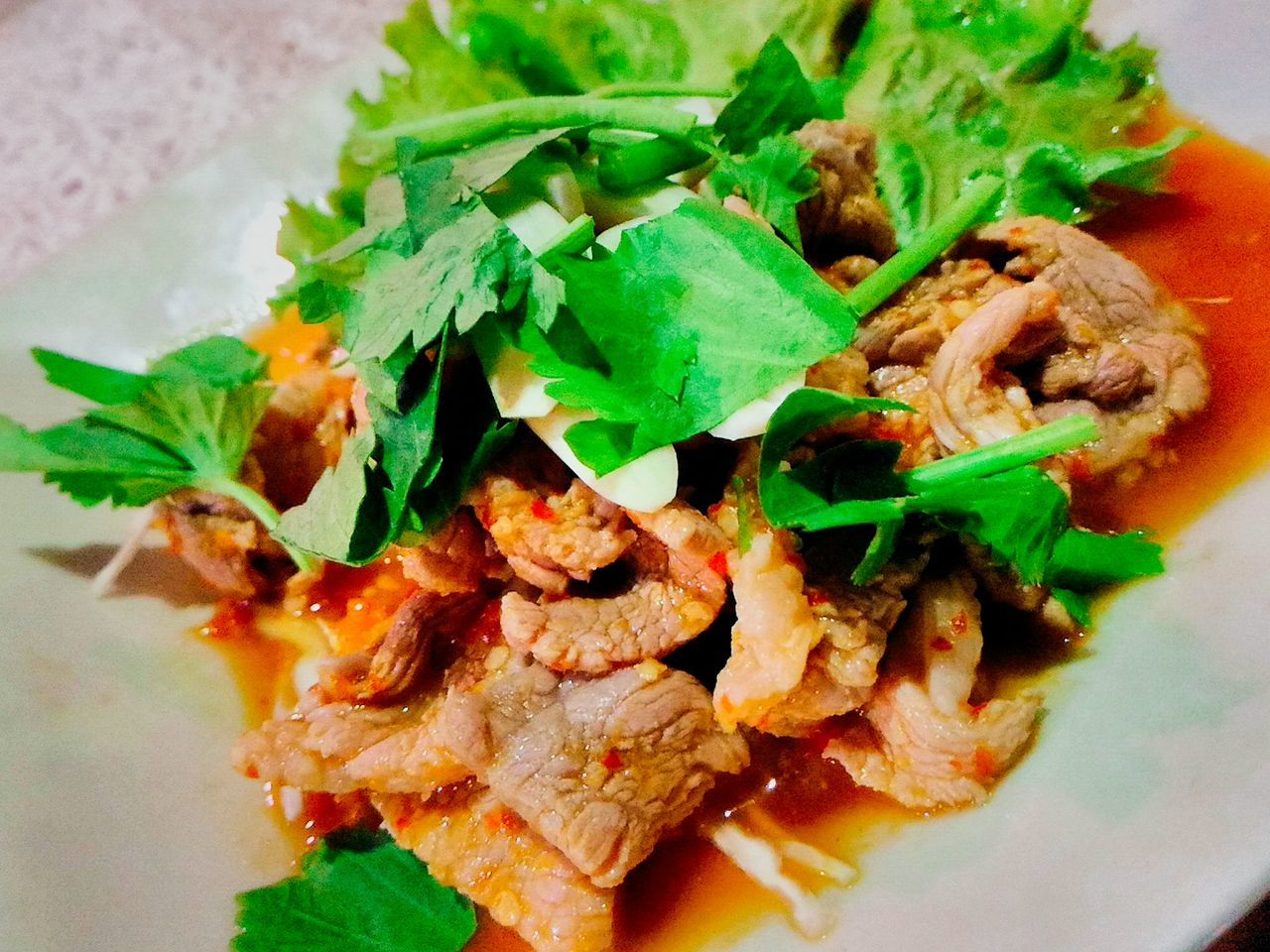 Thai Spicy Pork Salad Healthy Eating Food Freshness Spicy Thai Food Dietfood Asian Food Celebrating Day Of Birth Party