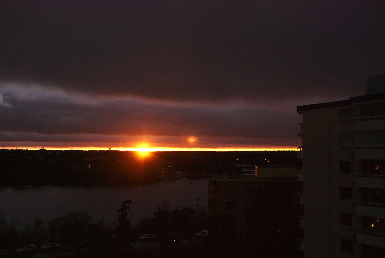 view from the balcony last year. will this winter be as dark? Ulvsunda Bromma Sunset Solna