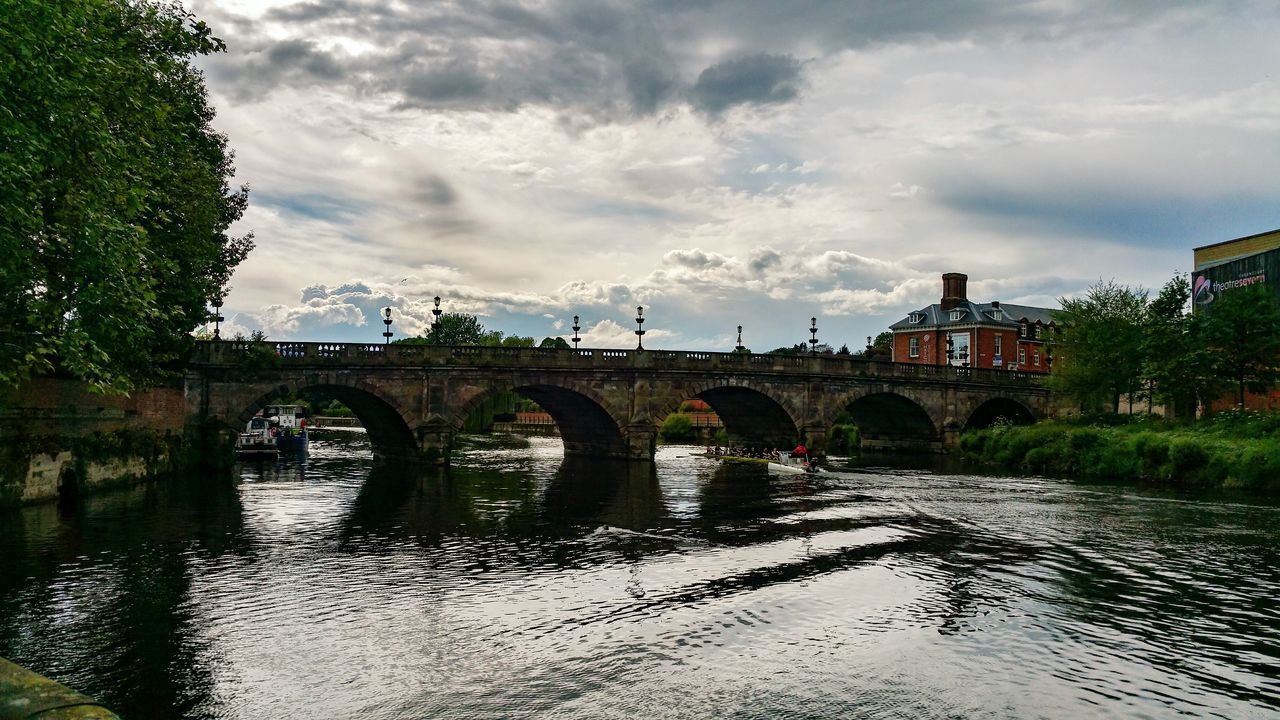 Shrewsbury Bridge Rowing Boat Bridge - Man Made Structure Outdoors Water Cloud - Sky Sky Built Structure Architecture Day Tree City Race Rowing Boat British Britain Uk England Summer Cloudscape Sport Hafren Severn