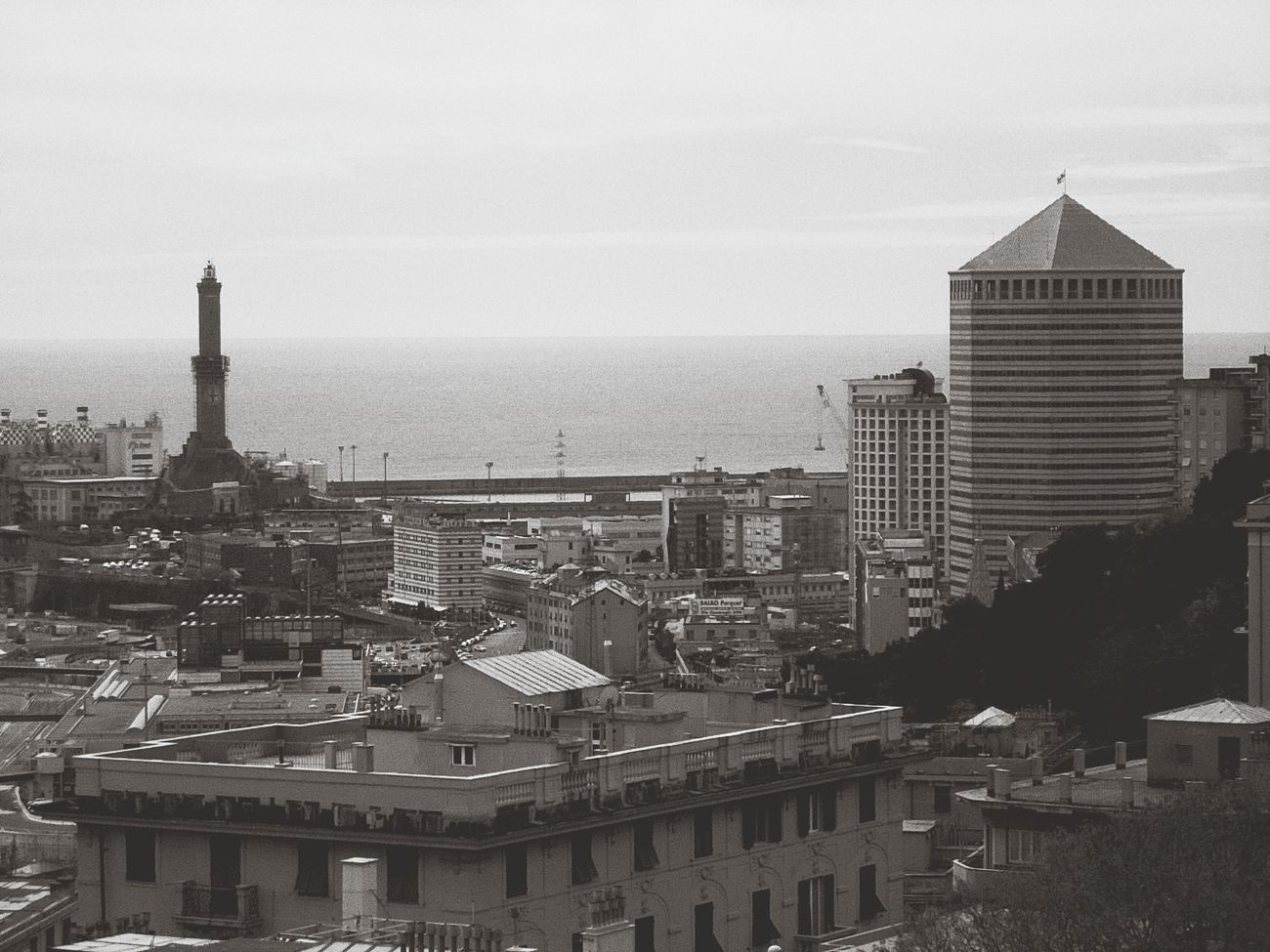 History and future just Genova Italy Landscape Panoramic Landscape Lanterrna Skycrapers
