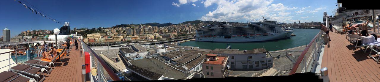 Fresh off the boat Mediterranean  Cruise Mscopera Msc Genoa EyeEmNewHere EyeEm Selects Built Structure City Outdoors Sky Travel Destinations Cityscape EyeEmNewHere