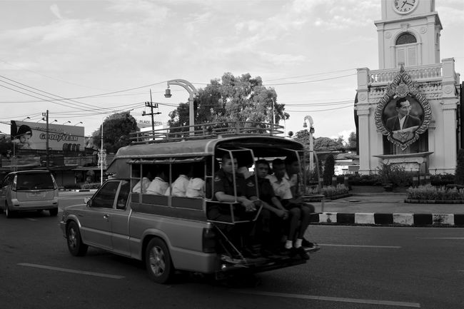 for an upcoming photo essay on phuket thailand B&w Street Photography City Life City Street Everybodystreet Everydayasia Fujifilm_xseries Going To School Mode Of Transport Morning Commute Photo Essay Phuket Phuket Town Phuket,Thailand Pickup Truck School Bus Street Photography Streetphotography Thailand Traffic Circle Urban Urban Lifestyle