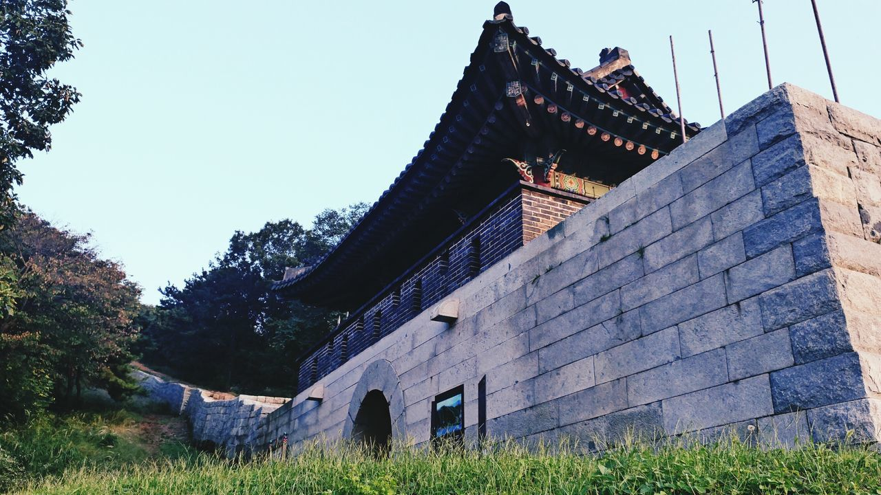 문수산성,김포 Mountain Fortress Ramparts Traditional Architecture Historycal Place In Korea Architecture Built Structure Building Exterior Clear Sky Low Angle View Grass Stone Outdoors Day Plant Growth Sky Lawn No People Tall Rural Scene Green Spire
