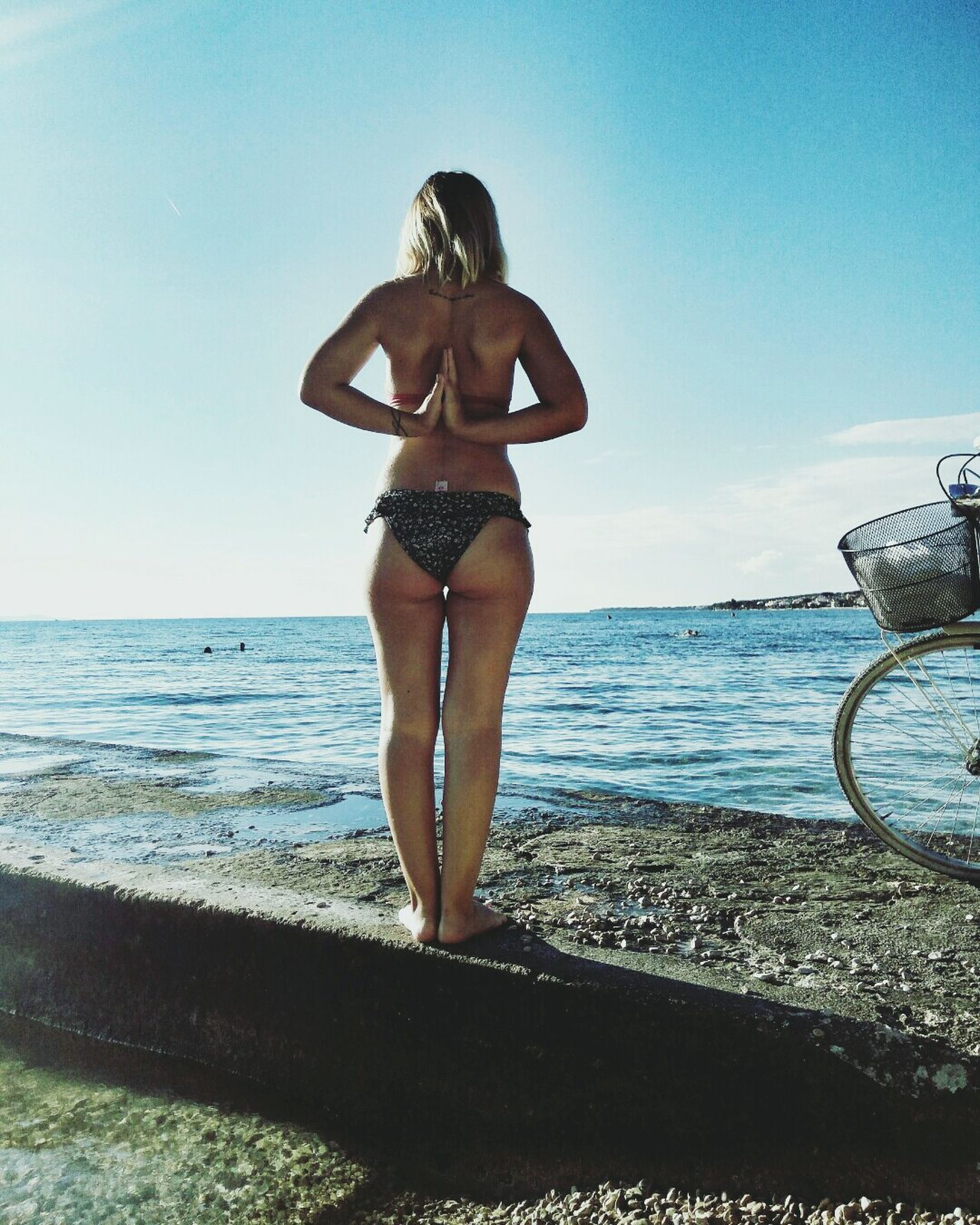 Beach Sea One Woman Only Bikini Sunlight Horizon Over Water Summer Outdoors Vacations Rear View Sky Full Length Water Girl Girls With Tattoos