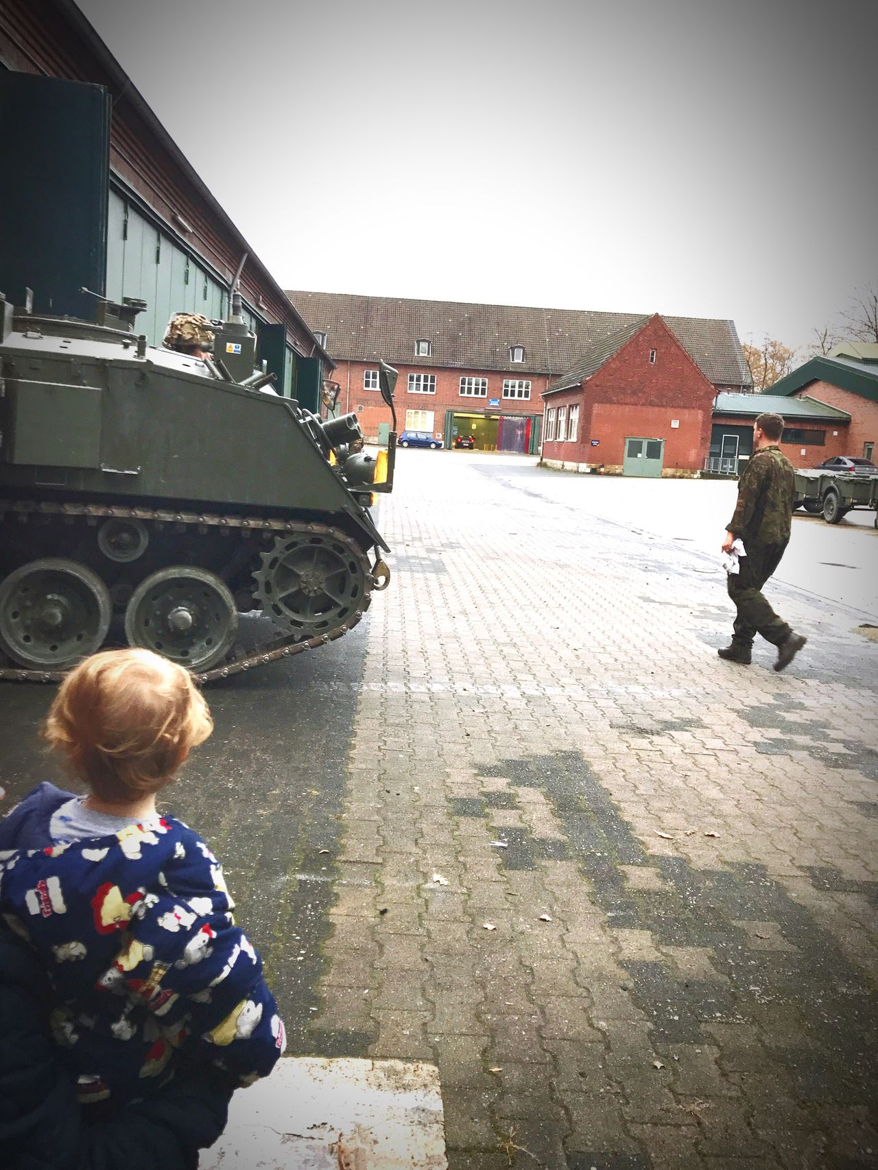Watching daddy work Bulldog Padbrat Father & Son A Child's First Hero Army Life Army Vehicles First Eyeem Photo