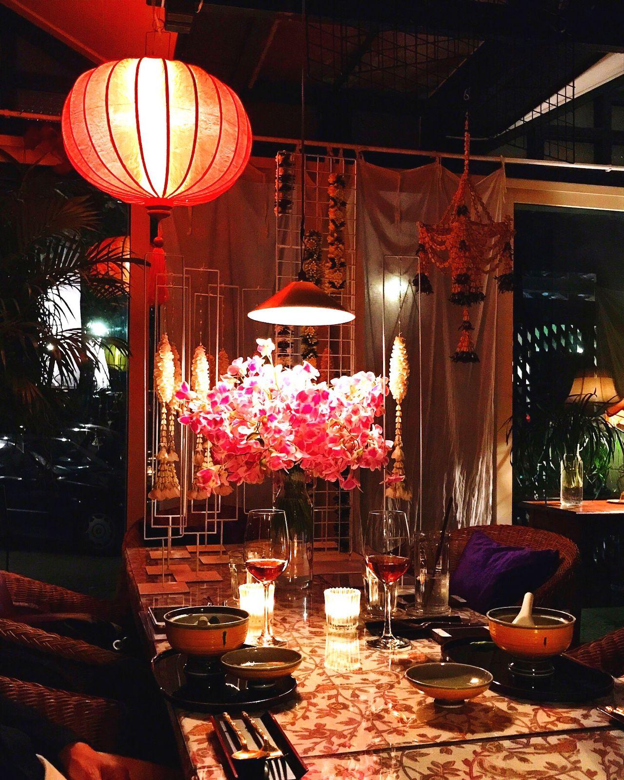 Dinner Table Lantern Hanging Lighting Equipment Illuminated Chair No People Indoors  Night Architecture Dinner Restaurant