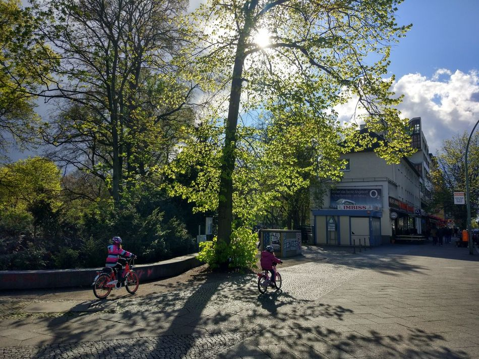 Bicycle Tree Day Outdoors Sunlight Shadow Real People Sky Nature Freshness Tranquil Scene Scenics Turmstrasse Park Beauty In Nature Tree Nature Cityscape Kids Cycling