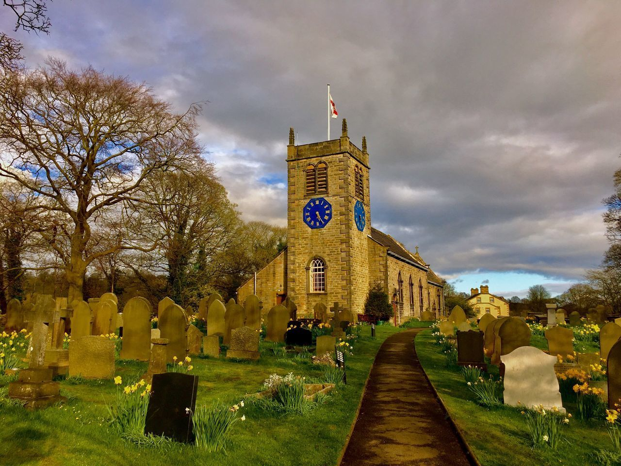Beautiful blue clock - St. Peter's church, Addingham Grass Architecture Tree Sky Outdoors Built Structure No People Nature Day Clock Tower Addingham Blue Clock Church Springtime Sunlight The Great Outdoors - 2017 EyeEm Awards The Architect - 2017 EyeEm Awards BYOPaper!