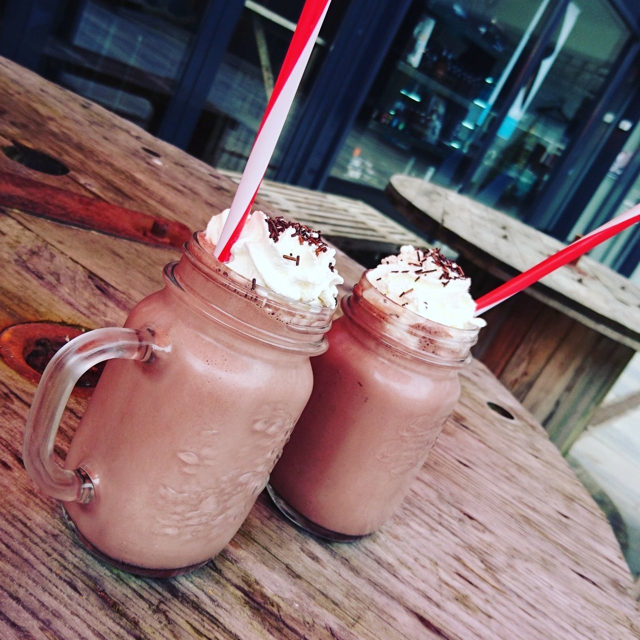 After a long walk.. We enjoyed the rewards.. MILKSHAKES .. Drink Drinking Straw Drinking Glass Food And Drink Milkshake Smoothie Freshness Milk No People Dairy Product Refreshment Table Indoors  Close-up Raspberry Blended Drink