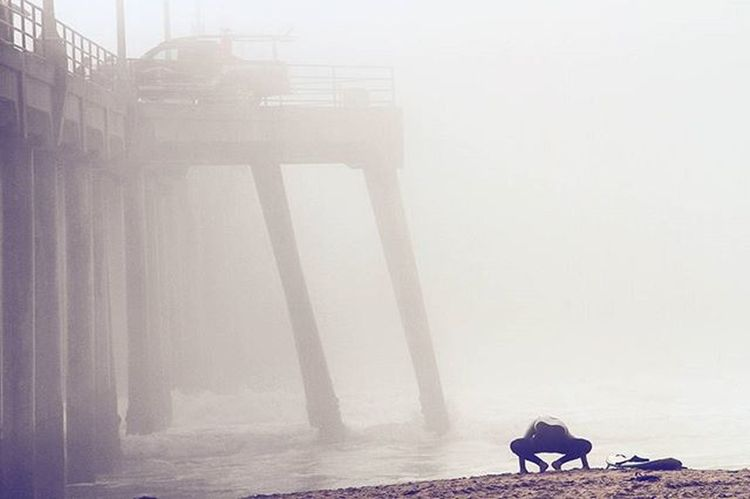 The only thing any of us can count on is unpredictability. Weather the storm and the spoils are endless. Surfing Moody Weather Fog Unpredictable Dedication Yoga