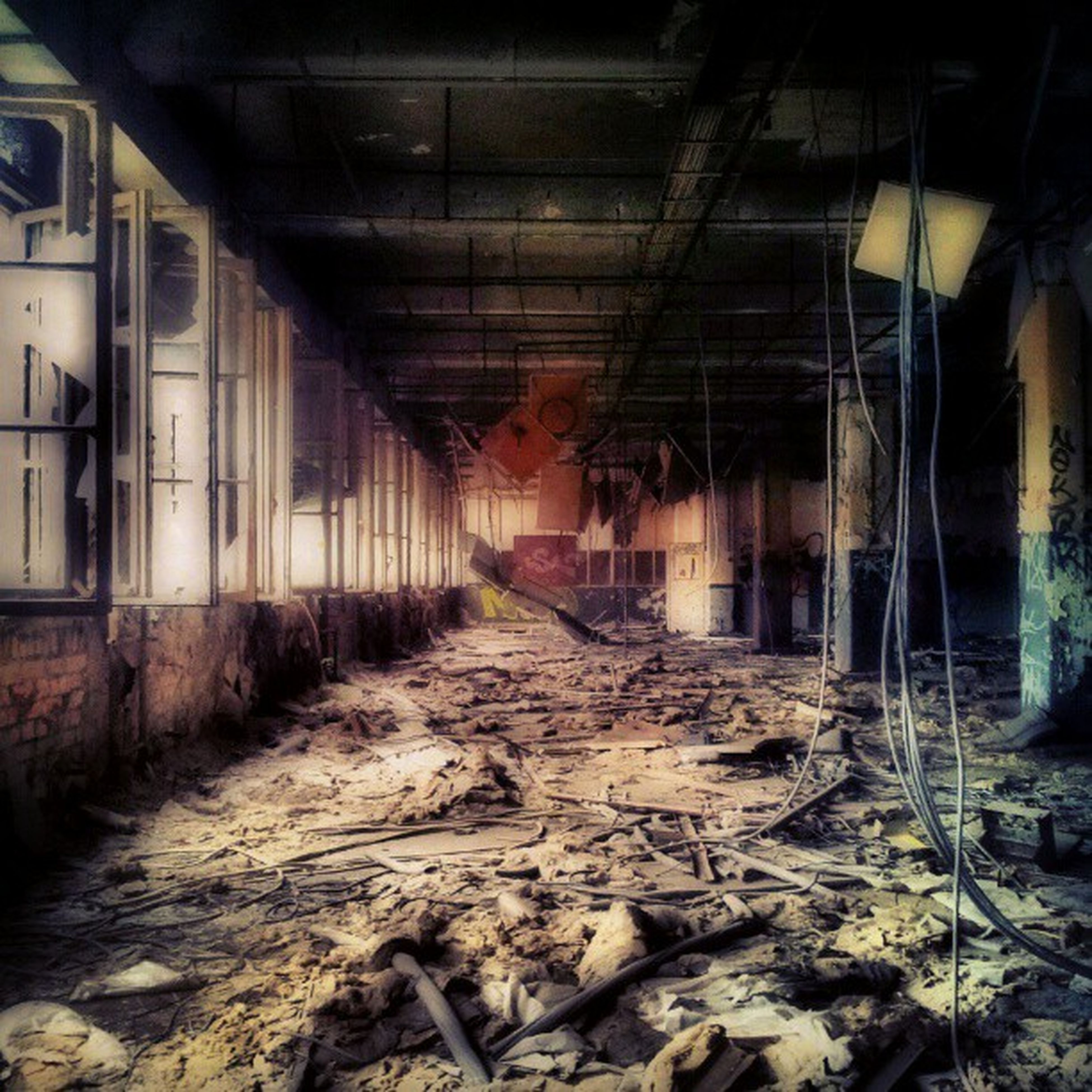 architecture, abandoned, built structure, indoors, obsolete, damaged, run-down, deterioration, the way forward, old, messy, interior, dirty, weathered, diminishing perspective, ceiling, building, bad condition, wall - building feature, destruction