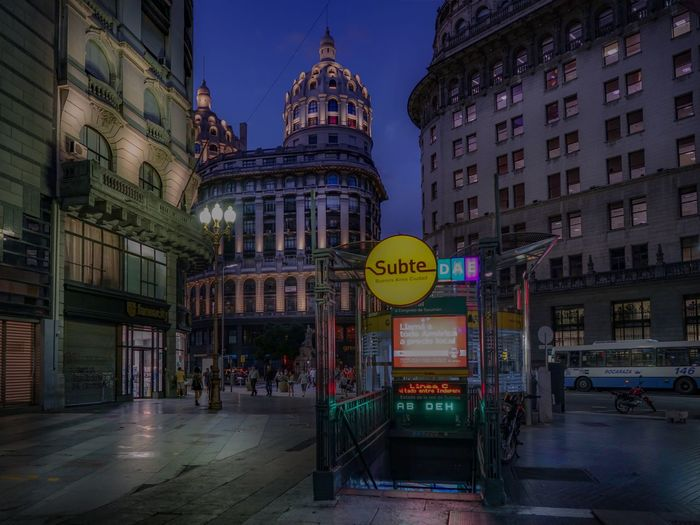 Architecture Argentina Buenos Aires Building Exterior Business Finance And Industry City City Life Illuminated Metro Station Microcentro Night Nightlife Nightphotography No People Outdoors Street Travel Destinations Urban