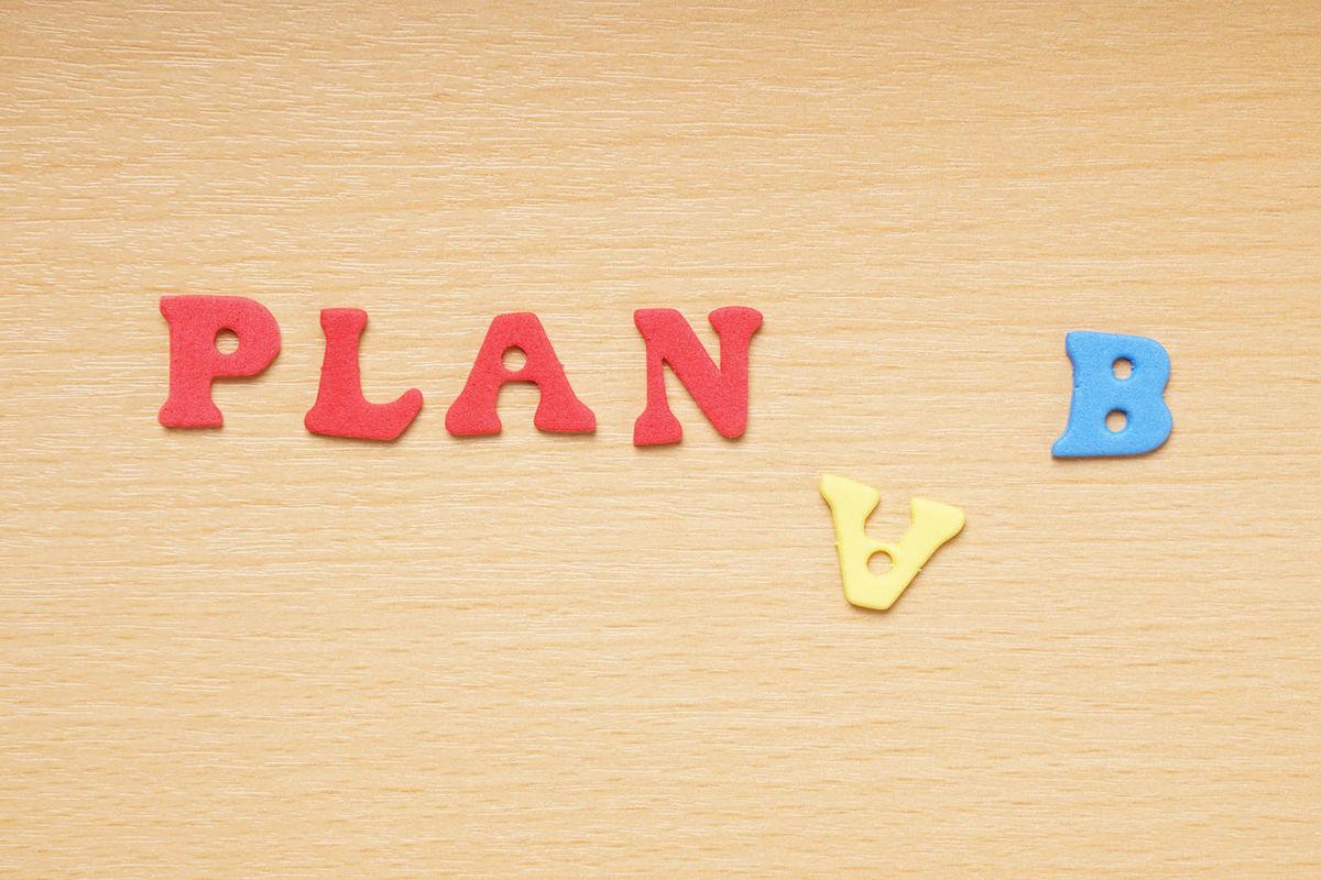 Alternative Colorful Design Flat Lay Foam Rubber Letters Improvisation Letters Moosgummi Plan A Plan B Text