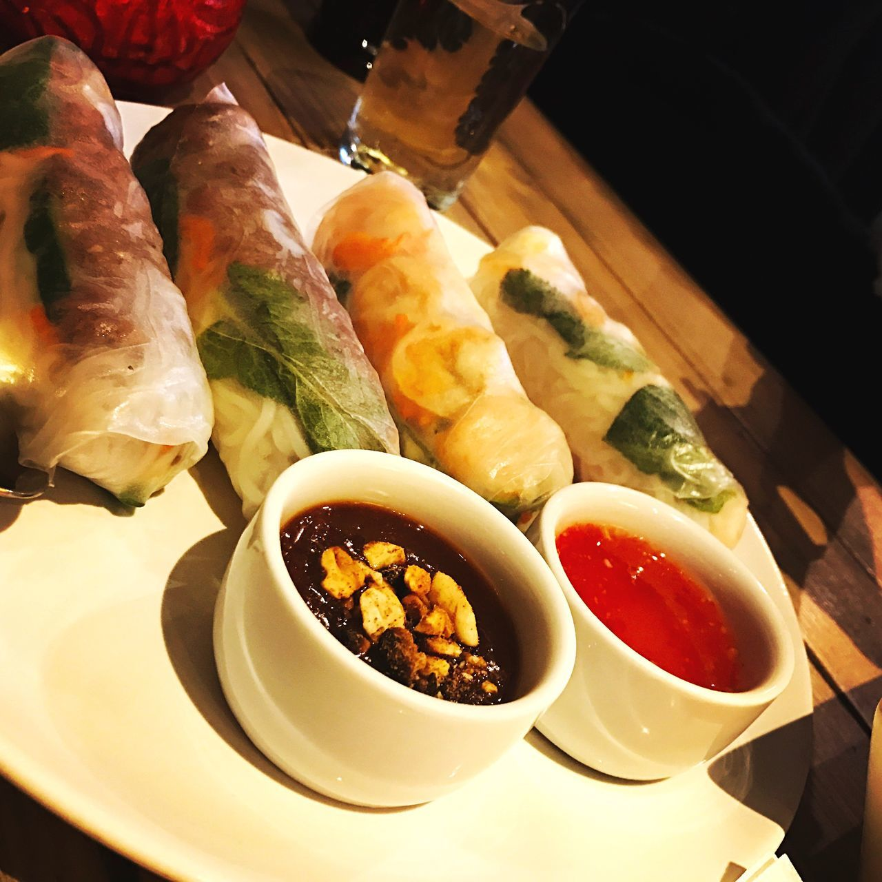 Food Healthy Eating Plate Table Serving Size Ready-to-eat Close-up Vietnamese Vietnamese Food Peanut Sauce Sweetsour Asianfood Beef Shrimp! Rice Paper Rolls Good Nice Taste Good Tasteful Dipping