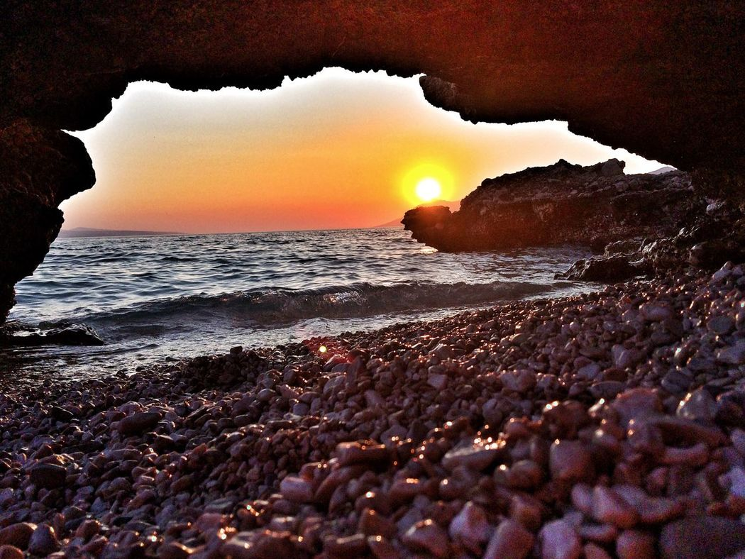 Sunset Beach Cave Baskavoda Croatia Pebbles Wawes Travel