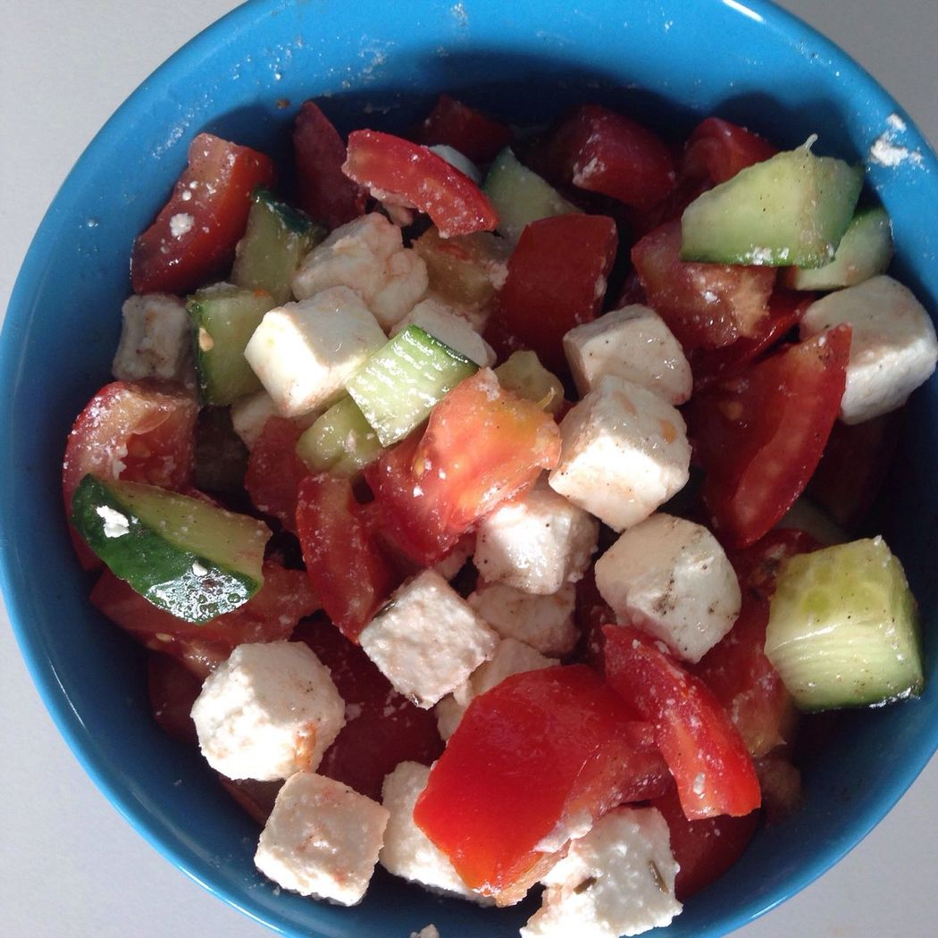 Salat Salad Gurke Cucumber Tomate Tomato Tomatoes Cheese Feta Fetacheese Bio Vegetables Selfmade Lunch Eat Eat Clean Eat Veggie