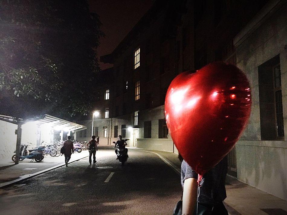 Balloon Night Girl Darkness Light And Shadow Heart