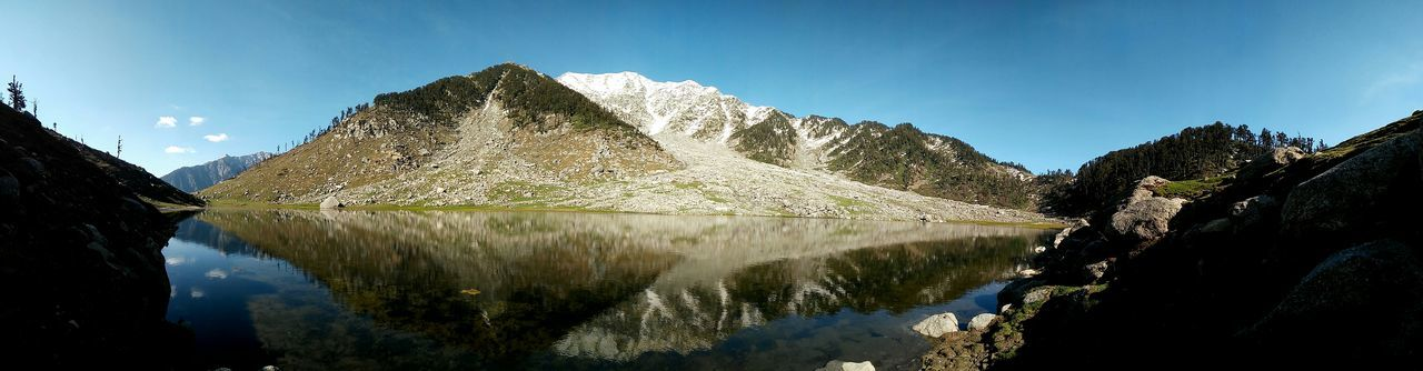 Water Mountain Panoramic Mountain Range Clear Sky Standing Water Waterfront Outdoors Kareri Lake Himalayas