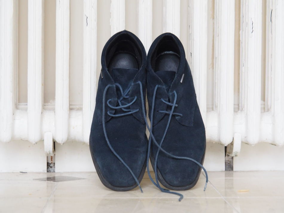 Blue Close-up Indoors  Pair Shoe Suède