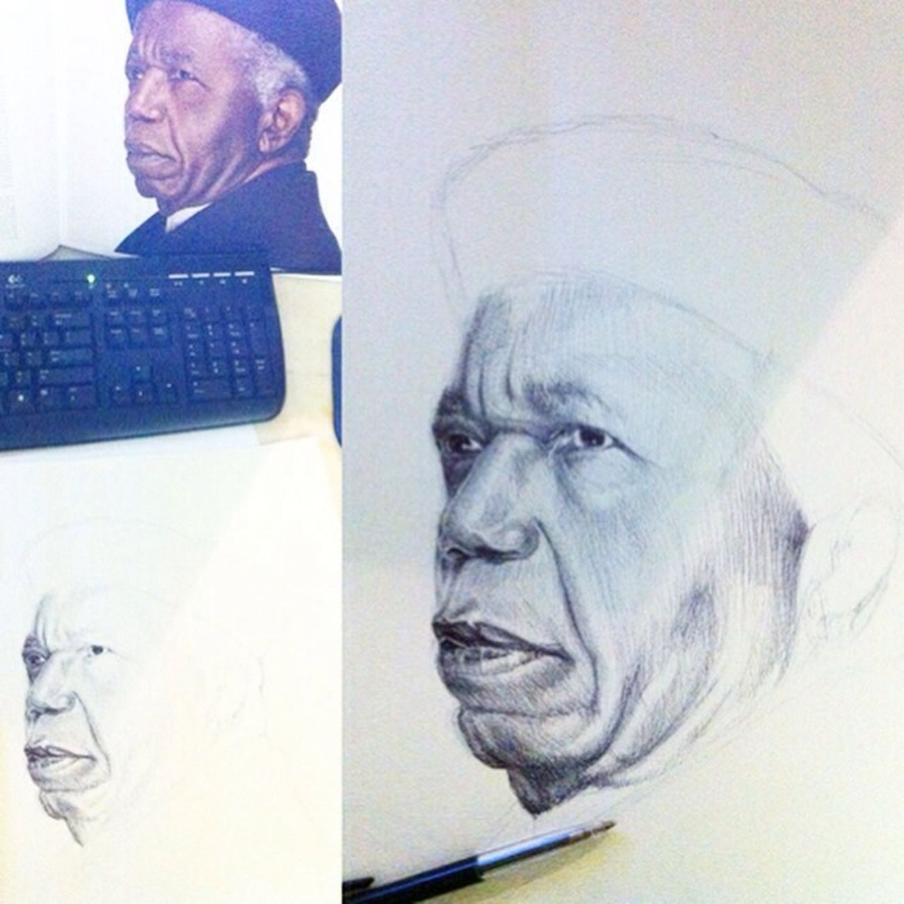 Oldersketch Biro Bicsketch Portrait Wole Soyinka Poet Poetry On Paper Abeokuta