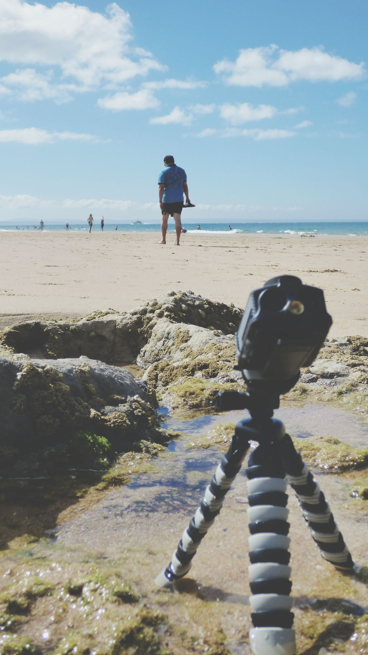 Beach Sand Sea Full Length One Person Sky Horizon Over Water Water Cloud - Sky Outdoors Tripod Action Cam Action Cam Sjcam M20 Standing Sunlight