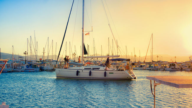 Ready for sail Greece Sea Sky Clear Sky Water Boat Nautical Vessel Sailboat Tourist Resort Sunset Hellas Aegina Sony A6000 18-105mm Harbor Nature Taking Photos Travel Destinations Enjoying Life Scenics