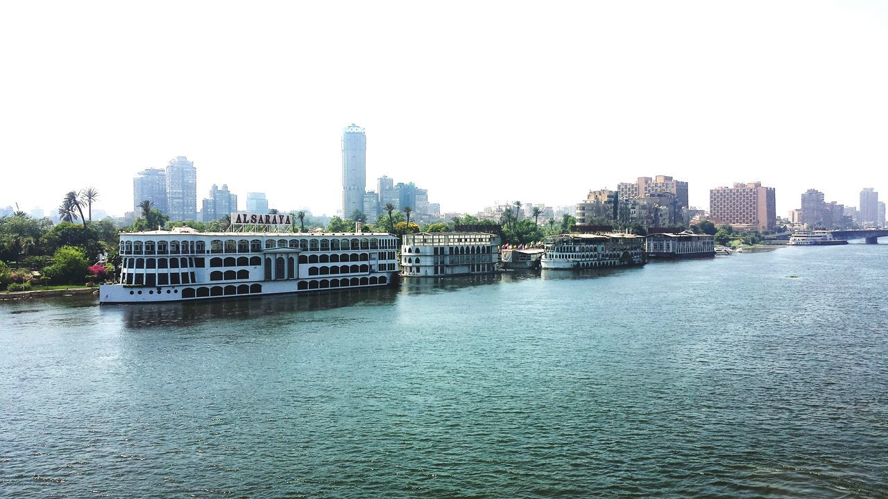 Cairo Egypt Cairo Cairobeauty Nile Nile River Nile Cruise River Ship Restaurant Water City White Boat Blue Sky