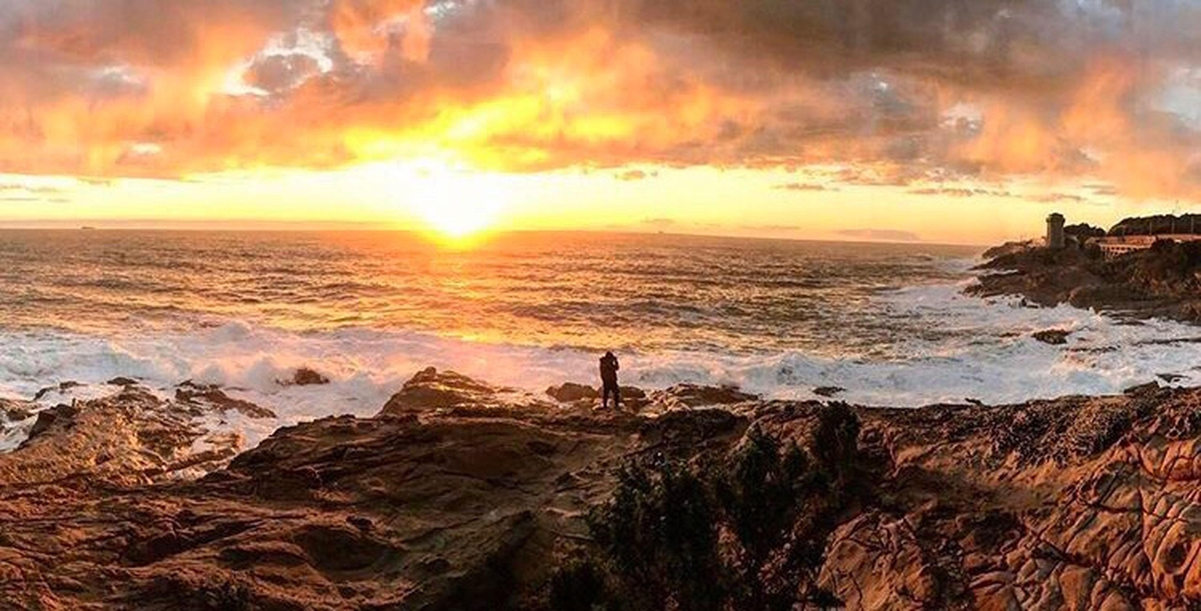 sunset, sea, beach, orange color, beauty in nature, horizon over water, dramatic sky, rock - object, nature, tranquility, scenics, outdoors, wave, romantic sky, vacations, no people, water, sunbeam, sun, sand, sky, cloud - sky, day