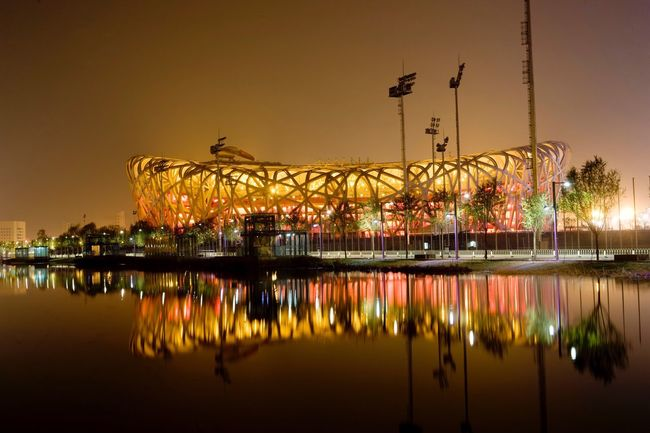 Olympia Stadium, Beijing, China, Asia Reflection Water Illuminated Waterfront Sky Night Architecture Building Exterior Lake Sunset Built Structure No People Nature City Outdoors Tree Bejing China Stadium Olympic Olympia
