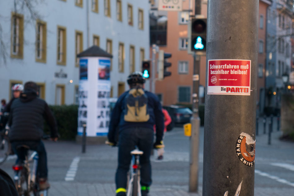 Bicycle Building Exterior City City Life Outdoors People Political Street Art Politics Taking Photos öpnv öpnvtweet Germany Traffic Travel Politische Partei Political Art Political Statement Politik