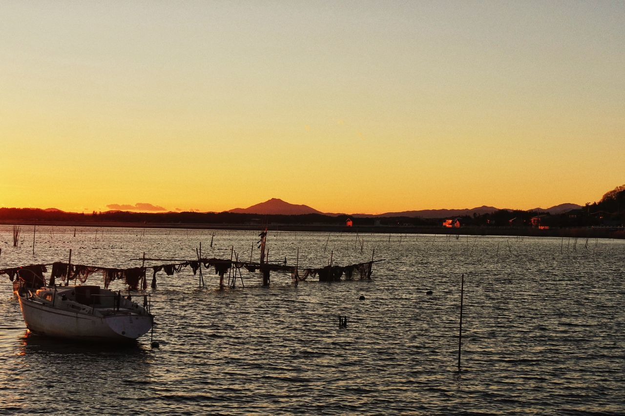 Lake Hinuma and Mount Tsukuba Ibaraki-Japan Landscape Of Japan Landscape Sunset Water Nature Outdoors Sky Transportation Silhouette No People Scenics Beauty In Nature Tranquility Clear Sky Mountain