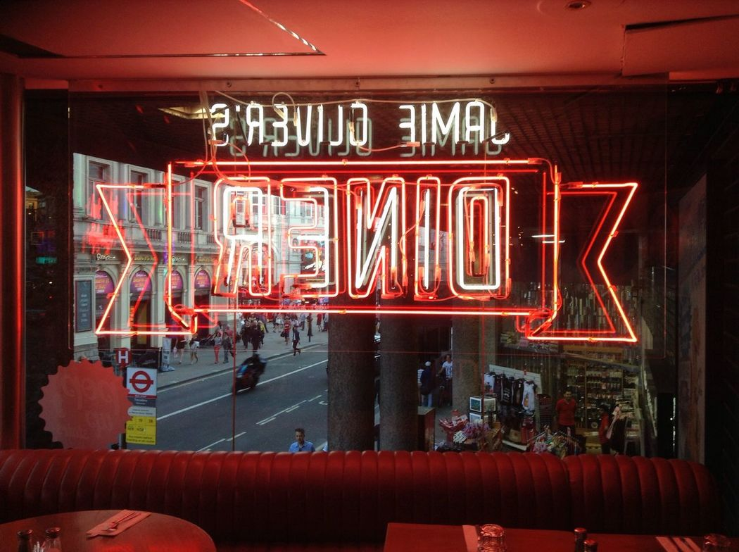 Jamie Oliver Restaurant Piccadilly Circus Want To Go Back Signs Pop-up Diner Yummy Dinosaur London Neon