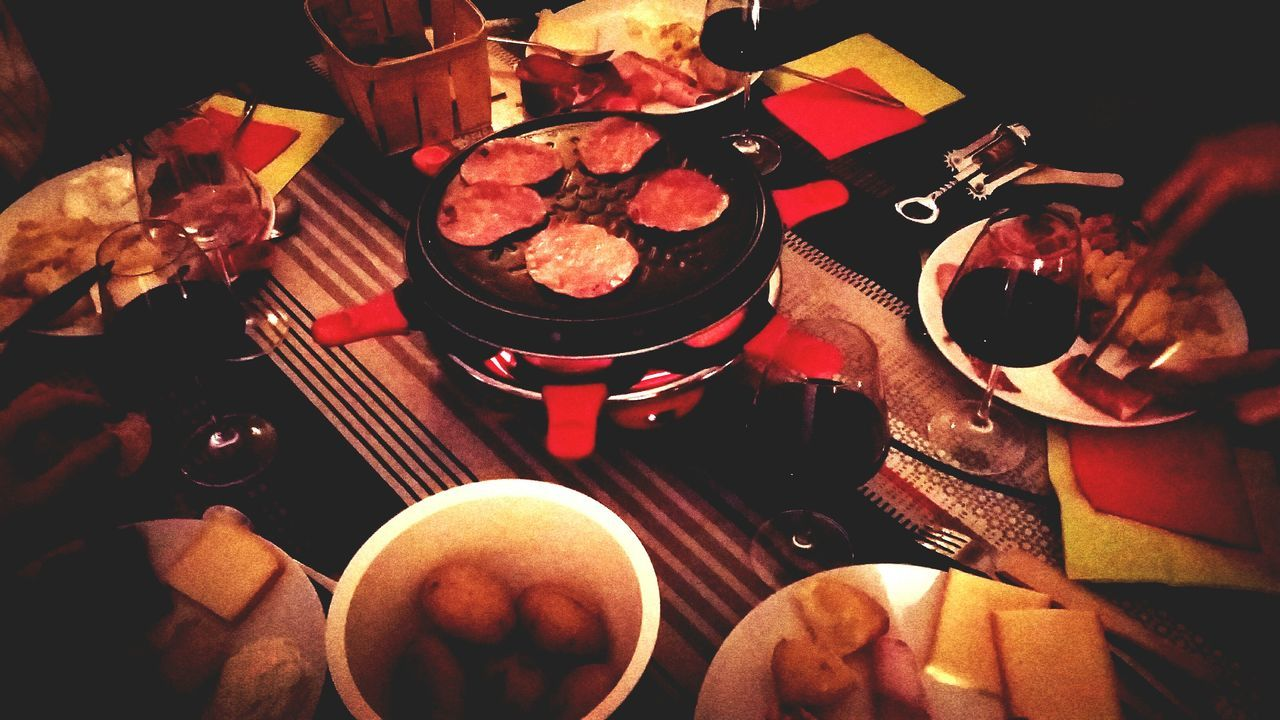 High Angle View Indoors  Table Variation Large Group Of Objects Collection In Front Of Arrangement No People ShareTheMeal Cheese Raclette Share The Meal Raclette Cooking Charcuterie Life Wine Glass Wine Red Wine Red Wine And Cheese Friendsforever Friendstime Eat Eat And Eat