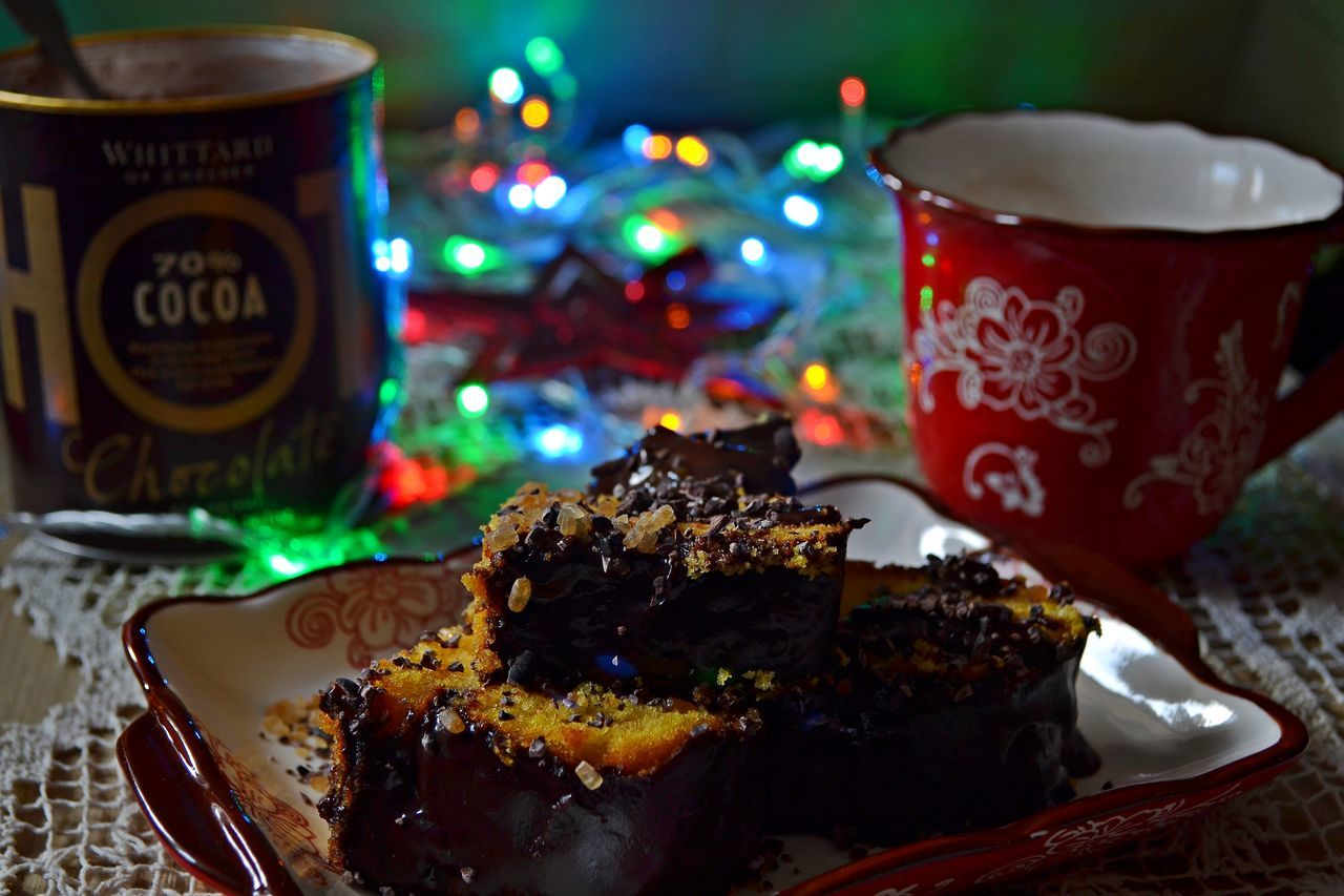 Cake Celebration Christmas Christmas Decoration Christmas Lights Close-up Dessert Food Food And Drink Indoors  No People Ready-to-eat Serving Size Sweet Food Table Temptation Unhealthy Eating Winter Holidays Winter Home Handmade For You