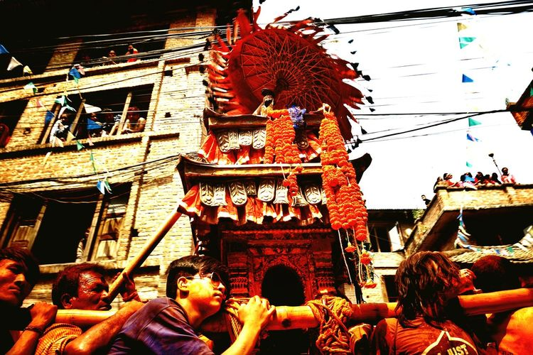 Local Festival Of Nepal Crowd Old Houses