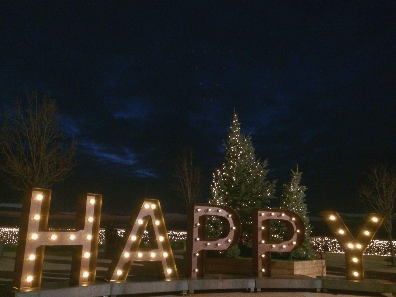 Night Text Illuminated Sky No People Outdoors Christmas Decoration Tree Communication Christmas Noche Letras Luminosas Iluminación Decoracion Navidad Happy Cielo