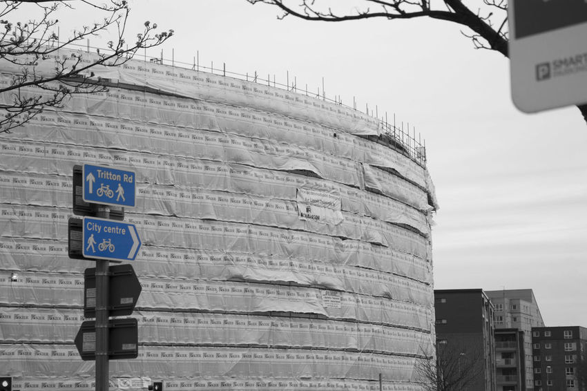 Throwback again. This construction site is now the latest student accomdation. (23/02/15). City Travel Destinations Outdoors Building Exterior Business Finance And Industry Sky Architecture No People Day Road Construction Blue Sign Black And White Contrast Media Production 2015  University Of Lincoln University Project University Photography Throwback First Year Student Accommodation Student
