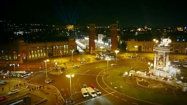Night View City Lights Plaça Espanya Fira Barcelona View From Arenas