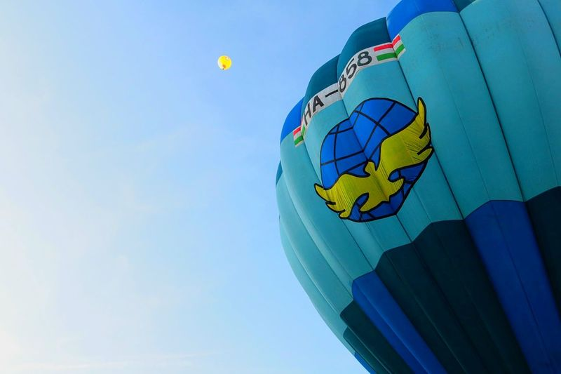 Balloons balloons everywhere 🎈 HotAirBallonFestival Hungary Sky Blue Flying Light And Shadow
