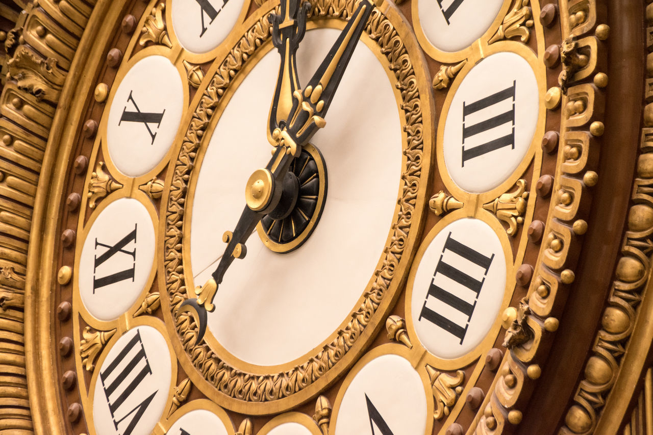 gold colored, ornate, gold, no people, indoors, low angle view, architecture, close-up, technology, time, minute hand, clock face, baroque style, roman numeral, day