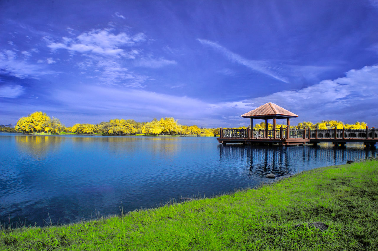 nature, beauty in nature, water, lake, sky, tranquil scene, scenics, outdoors, tranquility, tree, built structure, no people, cloud - sky, day, architecture, grass