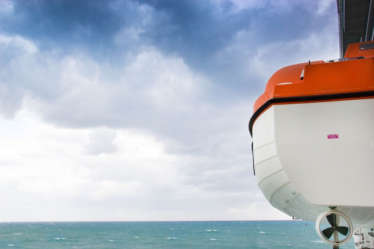 Sea Sky Cloud - Sky Outdoors Water Day Nature No People Horizon Over Water Nautical Vessel Beauty In Nature Cruise Ship Cruise Ocean Ocean View Tourism Travel Traveling Lifeboat Security Safetyfirst