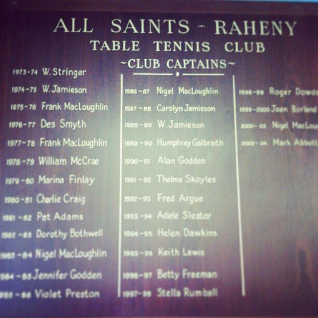 Table Tennis captains