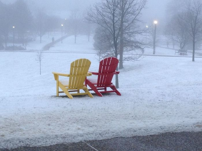 Chair Snow Cold Temperature Outdoors No People Day