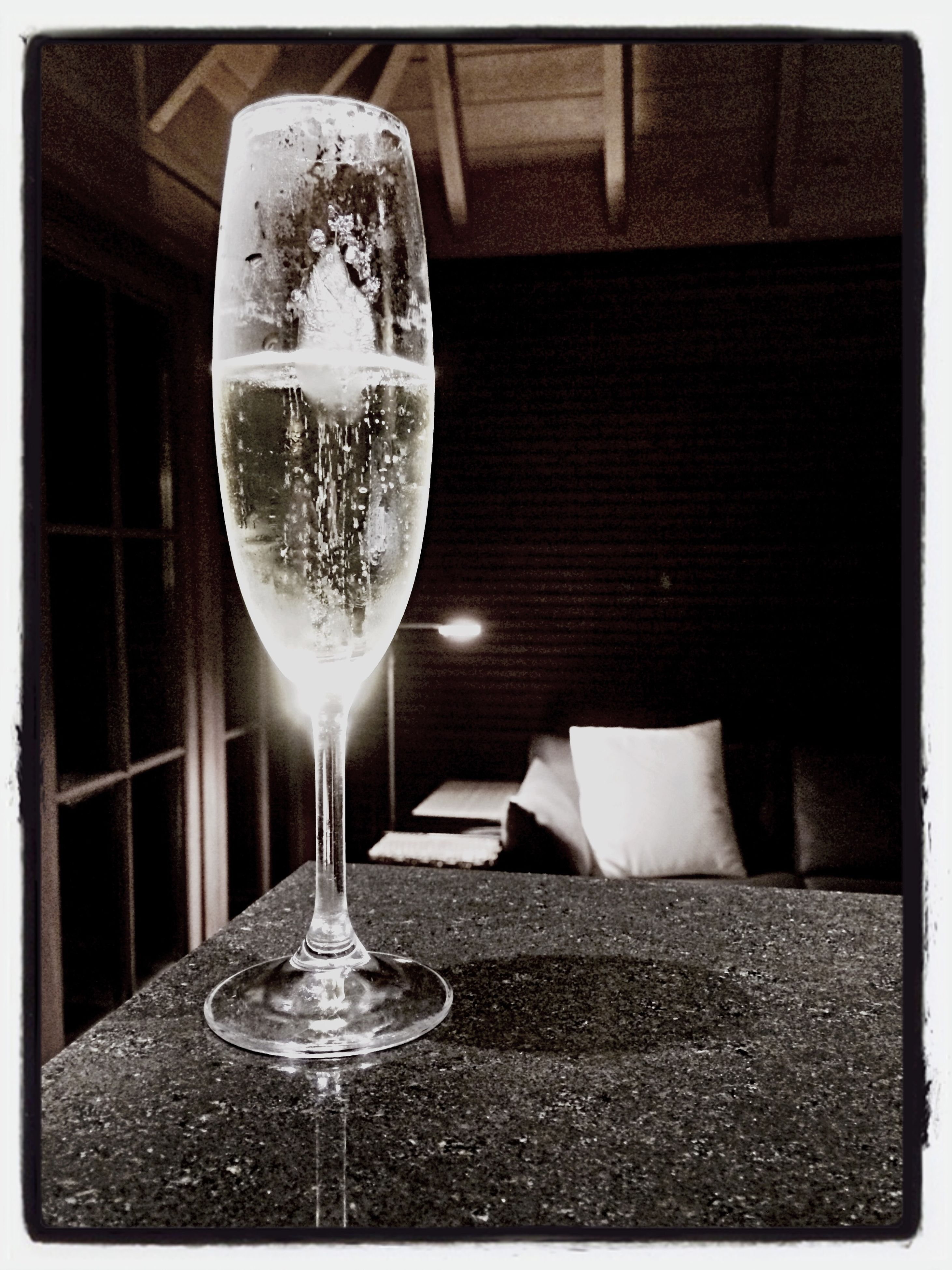 indoors, transfer print, table, drink, drinking glass, food and drink, still life, glass - material, refreshment, close-up, auto post production filter, empty, transparent, glass, alcohol, wineglass, no people, day, high angle view, freshness