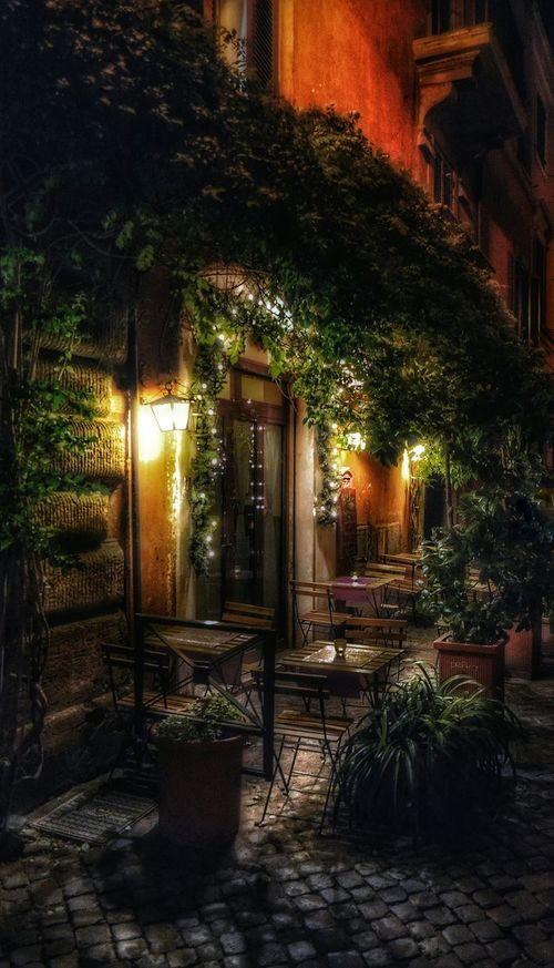 """Silent Translation of Peacefulness"" Rome Roma Photobydperry Ristorante Ristorante Italiano Nightphotography Romantic Dinner Italy Italia Street Photography Peaceful Place Outdoor Dining  Peaceful Evening"