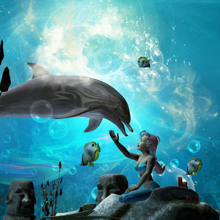 Animals In The Wild Bubbles Dolphin Fish Girl Light Mermaid Ocean Plants Playing Sea Swimming Underwater Water