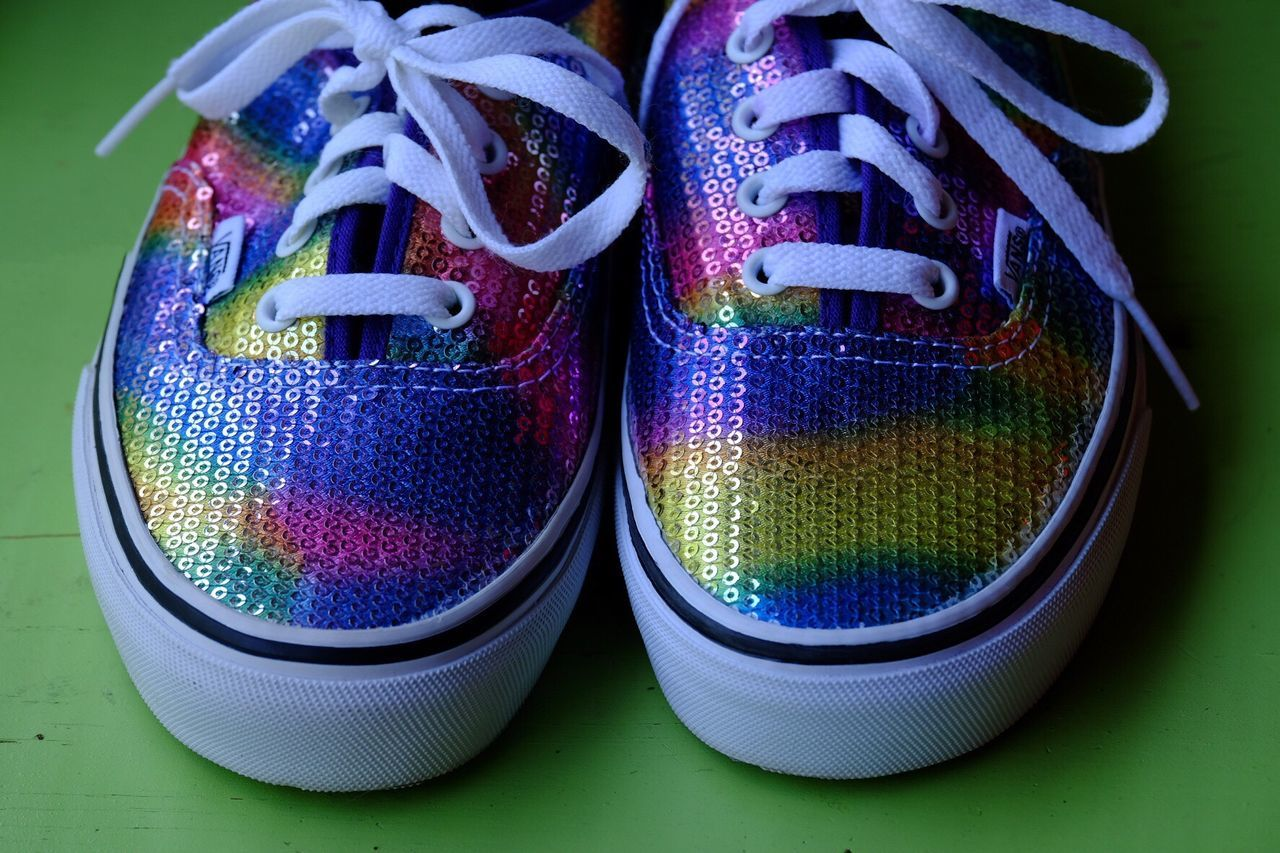 Colorful Colorful Shoes Colorful Sneakers Rainbow Colors Rainbow Shoes Rainbow Sneakers No People Close-up Studio Shot Day Out Of The Box