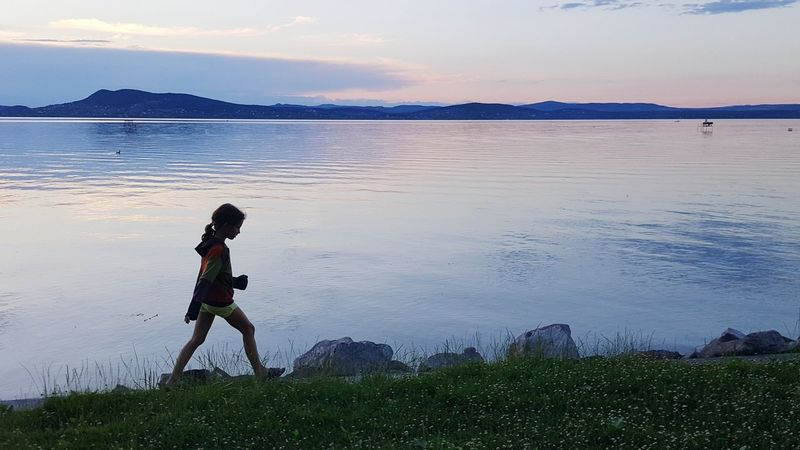 Water Full Length Beach One Person Lake People Outdoors Sky Day Nature Silhouette Sunlight Sunset Healthy Lifestyle Lifestyles Sport Beauty In Nature Horizon Over Water Breathing Space The Week On EyeEm Young Girl First Steps Go On An Adventure Silouette Shadow Photography